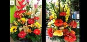 duo charme bouquet de fleurs et bouteille de champagne